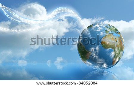 Digital Touchdown with Cloud Computing technology - stock photo