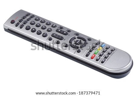 Digital TV and DVD remote control on an angle - stock photo