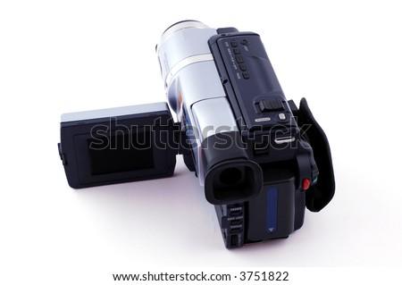 Digital video camera isolated on white background - stock photo