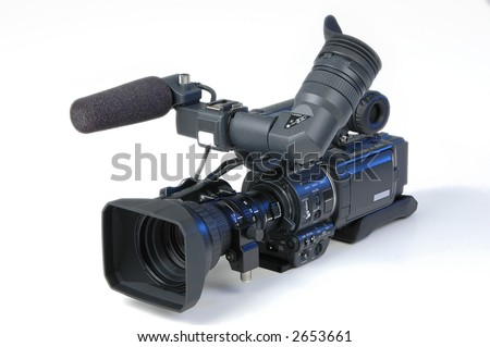 Digital video camera on white background - stock photo