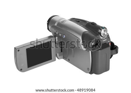 digital video camera on white background