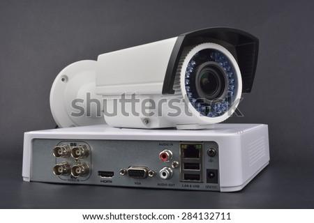 Digital Video Recorder and video surveillance cameras - stock photo