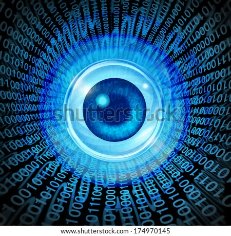 Digital vision high technology concept as an eye with binary code being communicated through the internet media as a symbol of global marketing and programming for future success.