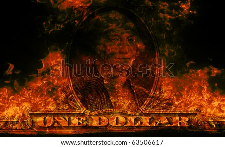 Digital visualization of a burning dollars - stock photo
