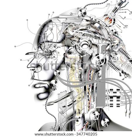 Digital Visualization of a Cyborg - stock photo