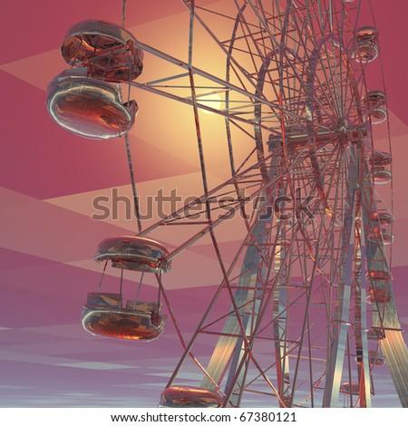 digital visualization of a giant wheel - stock photo