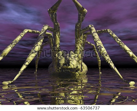 Digital visualization of a spider - stock photo