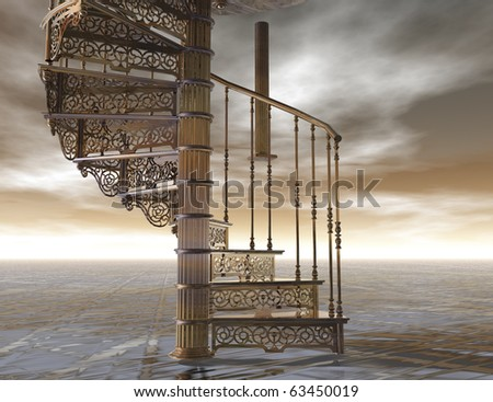 digital visualization of a spiral staircase