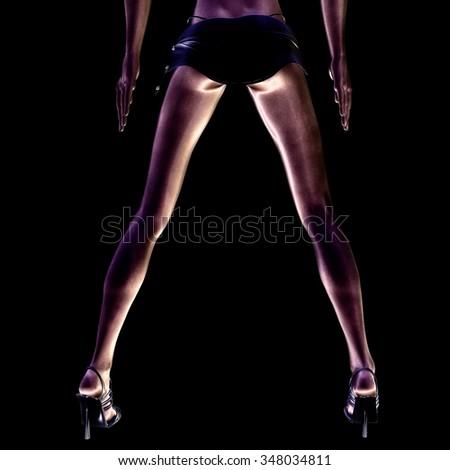 Digital visualization of sexy legs - stock photo