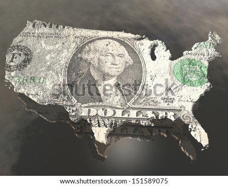digital visualization of the usa with dollar texture - stock photo
