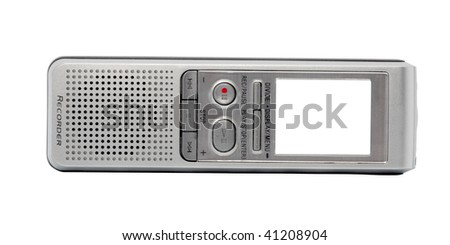 Digital voice recorder, isolated on white background. Screen - white background.