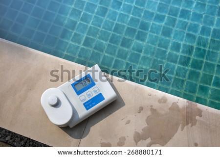 Digital water analysis technology  - stock photo