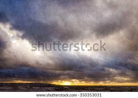 Digital watercolor painting from a photograph of a seascape of storm clouds, wintry showers, gale force winds and rolling waves at sunset, Ailsa Craig on the horizon, Troon, Ayrshire coast, Scotland