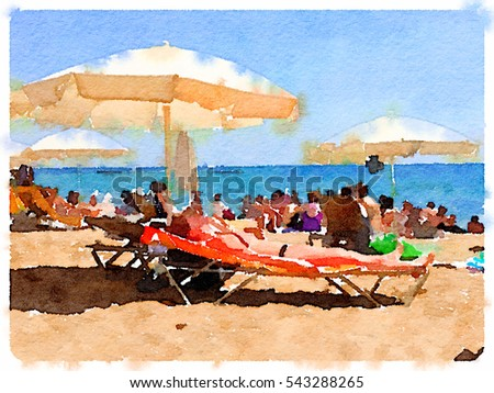 Digital Watercolor Painting Of A Beach In Barcelona Spain Parasols On The