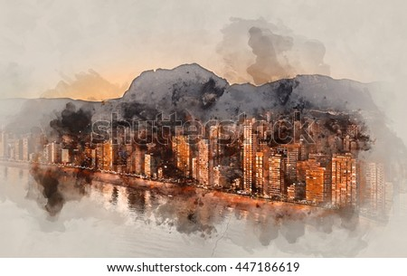 Digital watercolor painting of a Benidorm city at sunset. Costa Blanca, Alicante province. Spain.