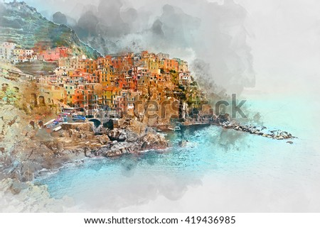 Digital watercolor painting of Manarola. Manarola is a small town in the province of La Spezia, Liguria, northern Italy.