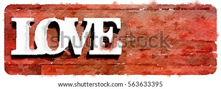 Digital watercolor painting of the word love on a red background. Space for text.