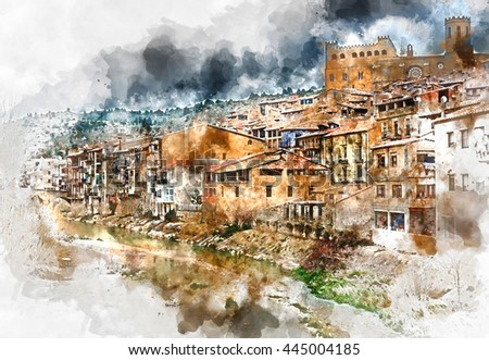 Digital watercolor painting of Valderrobres village, known as one of the most beautiful village in Spain