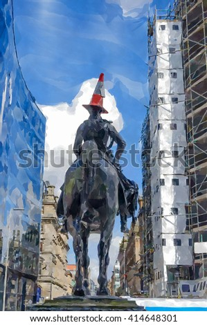 Digital watercolour from a photograph of Duke of Wellington statue with a traffic cone on his head astride a horse  in front of the Gallery of Modern Art, Royal Exchange Square, Glasgow, Scotland.