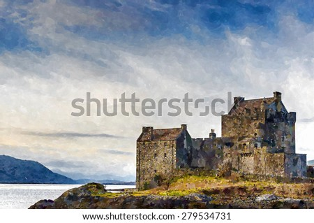 Digital watercolour from a photograph of Eilean Donan Castle in the highlands of Scotland
