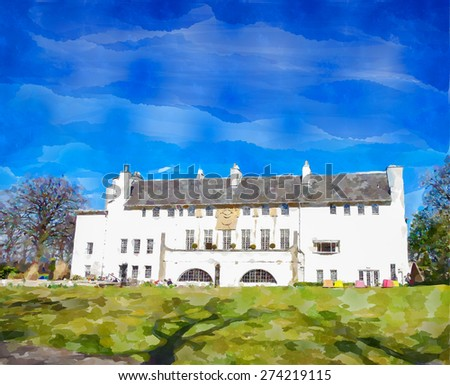 Digital watercolour  from a photograph of the House For An Art Lover, situated within Bellahouston Park, Glasgow, Scotland, UK - stock photo