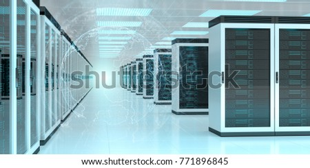 Digital white Earth network flying over server room data center 3D rendering