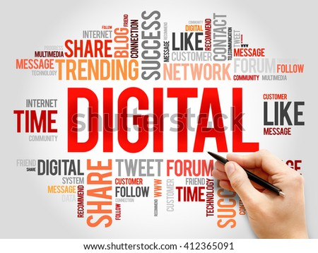 Digital word cloud, business concept - stock photo