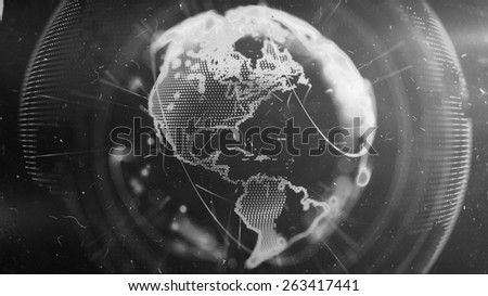 Digital World. Computer graphics made. Illustration of a technological world. Globe.