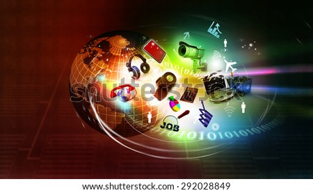 Digital world , global internet technology	 background - stock photo