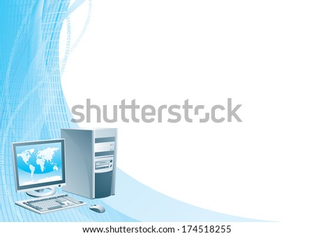 Digital world. Illustration of the computer, flat monitor with world map, mouse and keyboard on abstract background. - stock photo