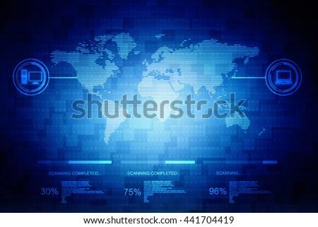 Digital world map , Globalization, Hi tech and synchronization - stock photo
