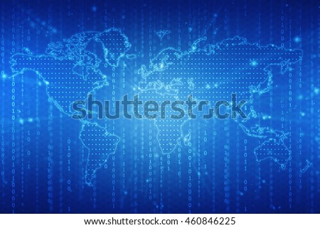 Digital world map , Globalization, Hi tech and synchronization,2d illustration