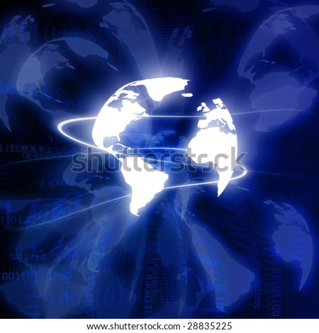 Digital world on a dark blue background