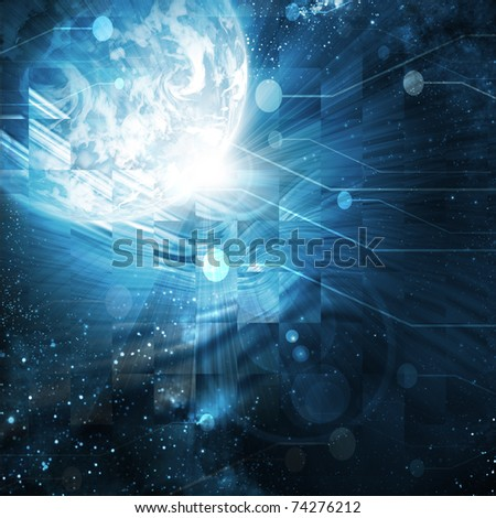 digital world on a dark blue  background - stock photo