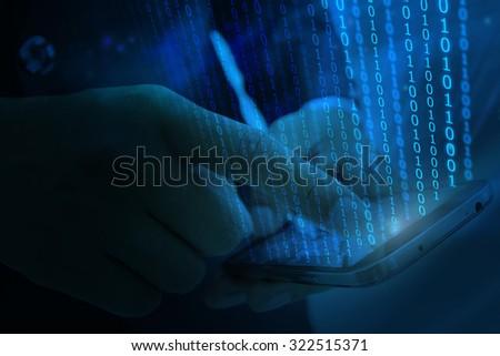 Digital world, technology background. - stock photo