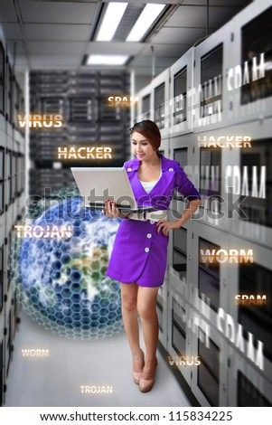 Digital world was protected by admin in server room : Elements of this image furnished by NASA - stock photo