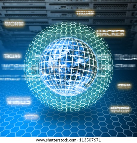 Digital world was protected in data center room : Elements of this image furnished by NASA - stock photo