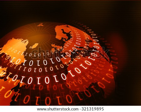 Digital world with binary code		 - stock photo