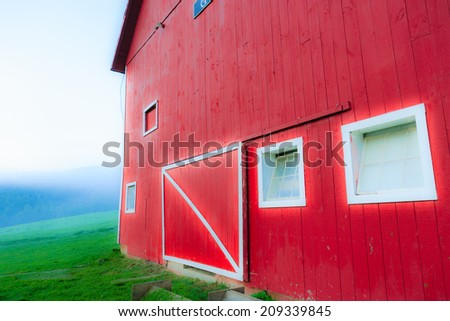 Digitall enhanced barn, Stowe Vermont, USA - stock photo