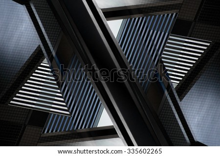 Digitally altered close-up photograph of abstract architecture fragment. Distinctive contemporary composition with geometric structure in black and blue colors of twilight. - stock photo