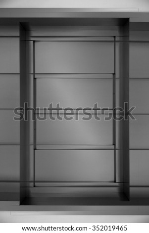 Digitally altered closeup photo of sliding modular steel door to a storage / depository. Contemporary architectural detail of office or industrial premises. Safety concept. - stock photo