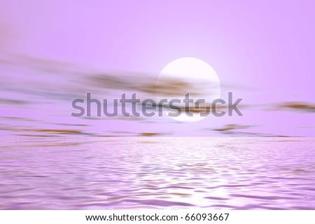 digitally created gorgeous sunset/sunrise background - stock photo