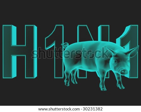 Digitally created word H1N1 with ghost texture and a rendered pig over black.