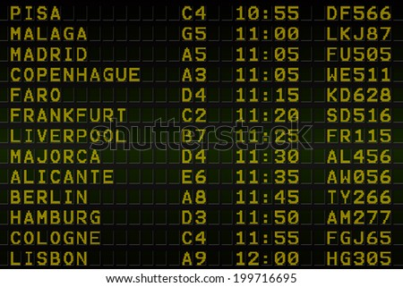 Digitally generated black airport departures board
