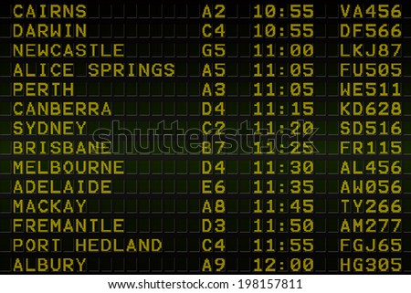 Digitally generated black airport departures board for australia