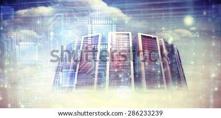 Digitally generated black and blue matrix against composite image of server towers - stock photo