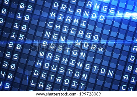 Digitally generated blue departures board for major usa cities