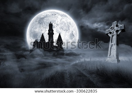 Digitally generated Castle and grave under full moon