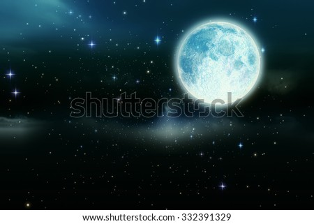 Digitally generated Full moon in the night sky