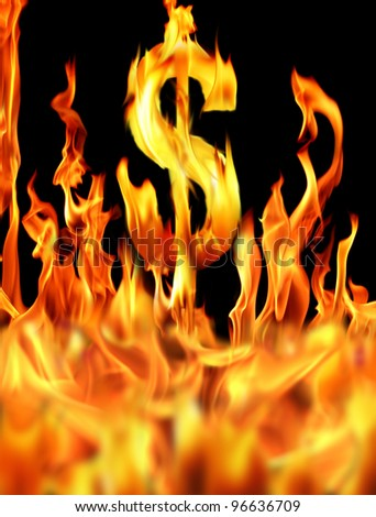 digitally generated image of dollar sign in fire - stock photo